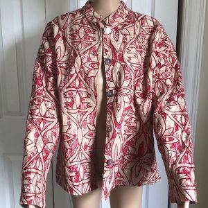 Coldwater Creek Cotton XL Jacket Batik Boho Print